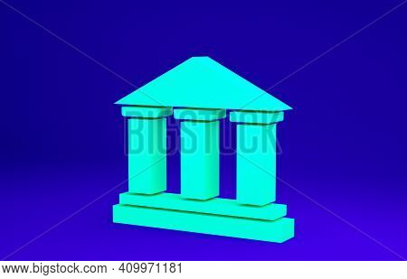 Green Museum Building Icon Isolated On Blue Background. Minimalism Concept. 3d Illustration 3d Rende