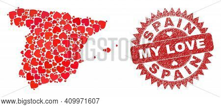 Vector Collage Spain Map Of Love Heart Elements And Grunge My Love Badge. Collage Geographic Spain M