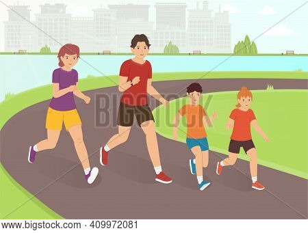 A Family Jogging Outside The City. A Happy Family Leads An Active Lifestyle. Outdoor Activity Vector