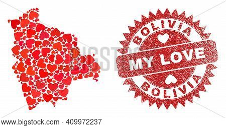 Vector Mosaic Bolivia Map Of Love Heart Elements And Grunge My Love Seal Stamp. Mosaic Geographic Bo