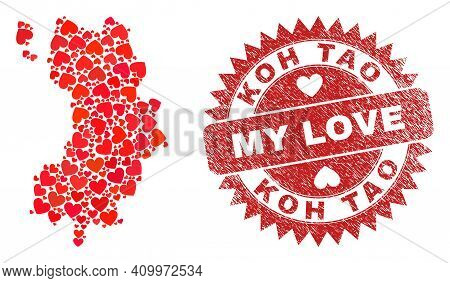 Vector Collage Koh Tao Map Of Love Heart Items And Grunge My Love Stamp. Collage Geographic Koh Tao