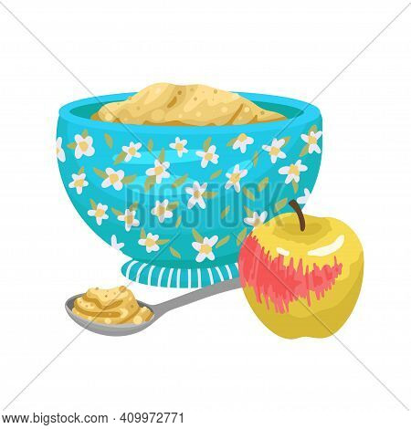 Healthy Breakfast, Baby Food, Porridge With An Apple, A Full Plate With A Silver Spoon. Vector Carto