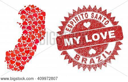 Vector Collage Espirito Santo State Map Of Valentine Heart Items And Grunge My Love Stamp. Collage G