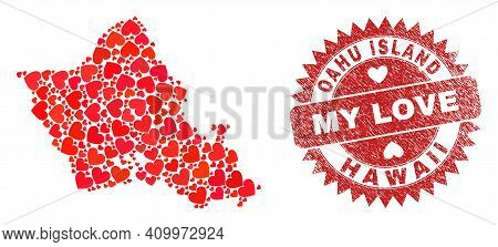 Vector Collage Oahu Island Map Of Valentine Heart Items And Grunge My Love Badge. Collage Geographic
