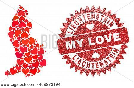 Vector Collage Liechtenstein Map Of Lovely Heart Items And Grunge My Love Stamp. Collage Geographic