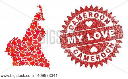 Vector Collage Cameroon Map Of Lovely Heart Elements And Grunge My Love Badge. Collage Geographic Ca