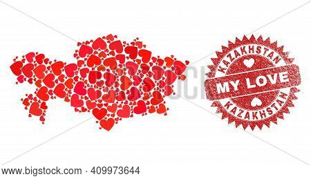 Vector Mosaic Kazakhstan Map Of Love Heart Elements And Grunge My Love Stamp. Mosaic Geographic Kaza