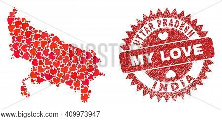 Vector Collage Uttar Pradesh State Map Of Lovely Heart Elements And Grunge My Love Stamp. Collage Ge