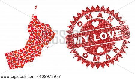 Vector Collage Oman Map Of Love Heart Elements And Grunge My Love Stamp. Collage Geographic Oman Map