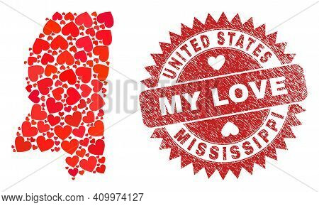 Vector Collage Mississippi State Map Of Lovely Heart Items And Grunge My Love Badge. Collage Geograp
