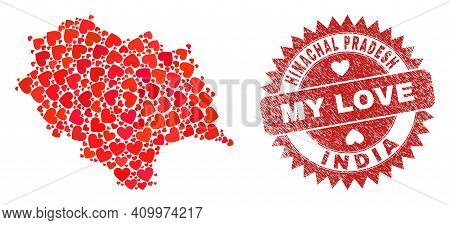 Vector Mosaic Himachal Pradesh State Map Of Love Heart Items And Grunge My Love Badge. Mosaic Geogra