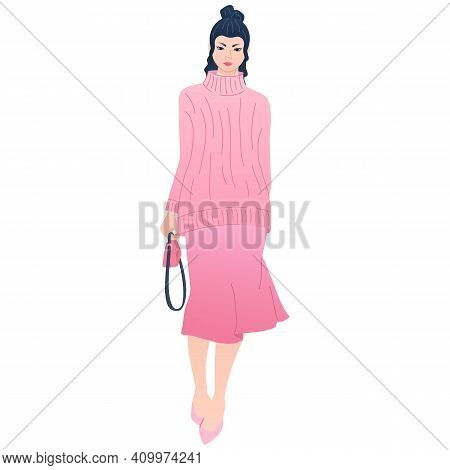 Young Elegant Asian Lady In Modern Fashion Outfit. Charming Slim Chinese Woman In Pink Long Sweater