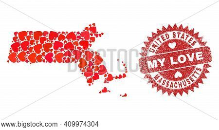 Vector Mosaic Massachusetts State Map Of Love Heart Elements And Grunge My Love Seal Stamp. Mosaic G