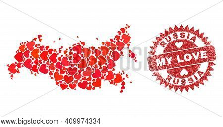 Vector Collage Russia Map Of Love Heart Elements And Grunge My Love Seal. Collage Geographic Russia