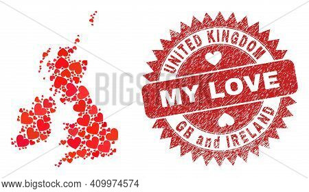Vector Collage Great Britain And Ireland Map Of Lovely Heart Items And Grunge My Love Seal. Collage