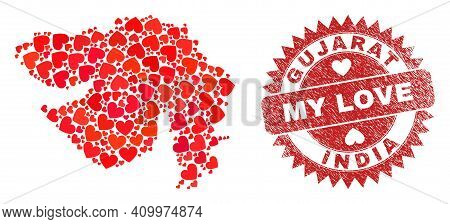 Vector Collage Gujarat State Map Of Lovely Heart Items And Grunge My Love Seal. Collage Geographic G