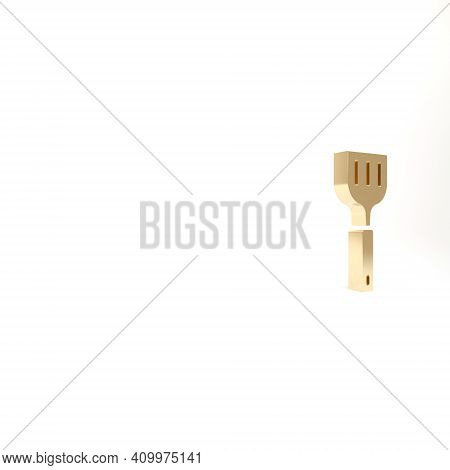 Gold Spatula Icon Isolated On White Background. Kitchen Spatula Icon. Bbq Spatula Sign. Barbecue And