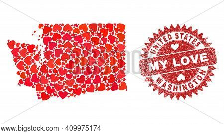 Vector Mosaic Washington State Map Of Valentine Heart Elements And Grunge My Love Stamp. Collage Geo