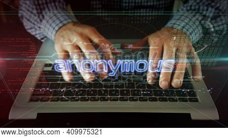 Anonymous Concept, Cyber Crime, Darknet, Identity, Hacking And Privacy Security. Futuristic Abstract
