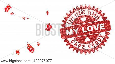 Vector Collage Cape Verde Islands Map Of Love Heart Elements And Grunge My Love Badge. Mosaic Geogra