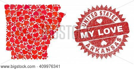 Vector Collage Arkansas State Map Of Love Heart Items And Grunge My Love Badge. Collage Geographic A