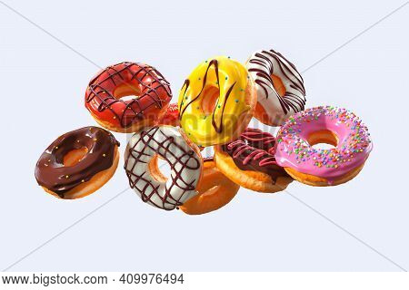 Set Of Flying Glazed Donuts With Sprinkles On A White Background
