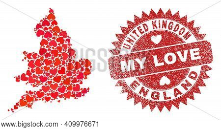 Vector Collage England Map Of Valentine Heart Items And Grunge My Love Badge. Collage Geographic Eng