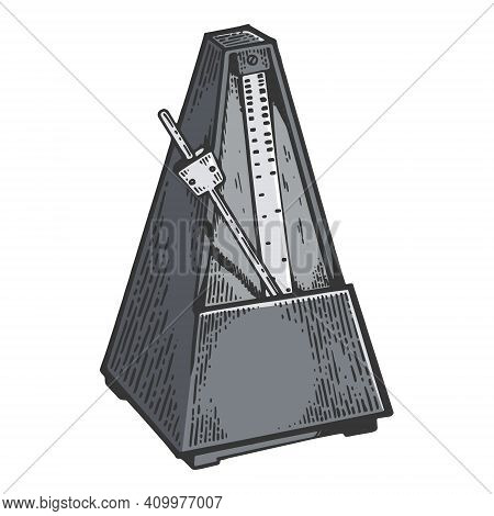 Metronome Tool Color Sketch Engraving Vector Illustration. Scratch Board Style Imitation. Black And