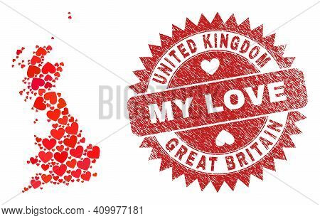 Vector Collage Great Britain Map Of Lovely Heart Items And Grunge My Love Seal Stamp. Collage Geogra