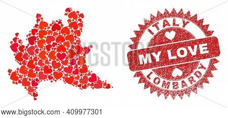 Vector Mosaic Lombardy Region Map Of Love Heart Elements And Grunge My Love Seal Stamp. Mosaic Geogr
