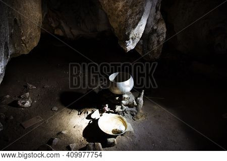 Holy Water In Tham Muang On Cave Formerly Named Tham Doi Sila At Limestone Mountain Situated Of Mae