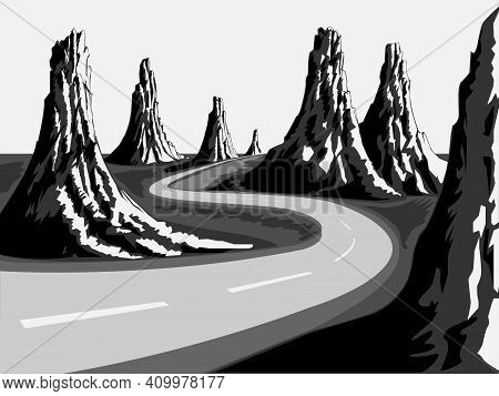 Black And White Vector Illustration Depicting A Road Winding Between Peaked Mountains