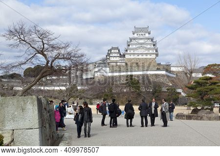 Himeji, Japan - Jan 31,2017 : Visitor Enjoy The View Of The Himeji Castle In Himeji, Japan On Jan 31