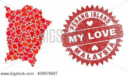 Vector Mosaic Penang Island Map Of Valentine Heart Items And Grunge My Love Seal Stamp. Mosaic Geogr