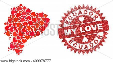 Vector Collage Ecuador Map Of Lovely Heart Items And Grunge My Love Seal. Collage Geographic Ecuador