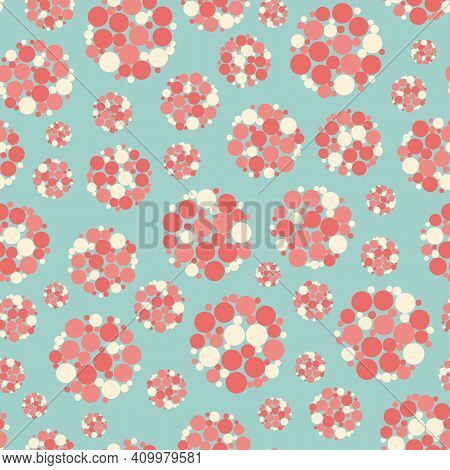 Abstract Allium Flower Seedhead Seamless Vector Pattern Background. Pastel Pink And White Seeds With
