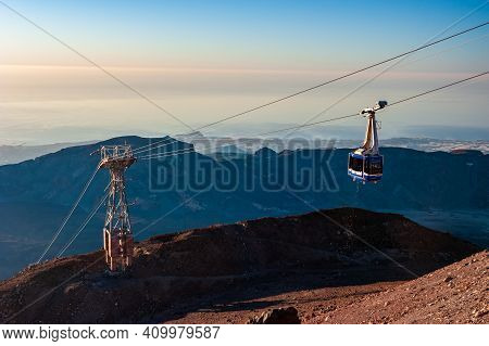 Teleferico Cable Car In Mountains, Volcano Pico Del Teide National Park. Pico Del Teide Mountain In