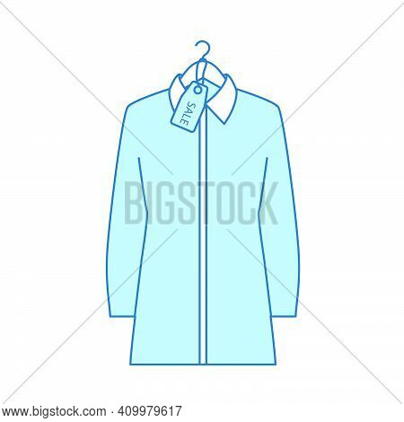 Blouse On Hanger With Sale Tag Icon. Thin Line With Blue Fill Design. Vector Illustration.