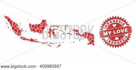 Vector Mosaic Indonesia Map Of Lovely Heart Items And Grunge My Love Seal Stamp. Mosaic Geographic I