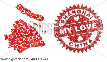 Vector Mosaic Shanghai City Map Of Love Heart Items And Grunge My Love Stamp. Mosaic Geographic Shan