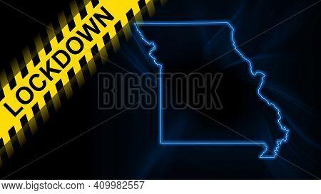 Lockdown Missouri, Outline Map Coronavirus, Outbreak Quarantine, On Dark Background