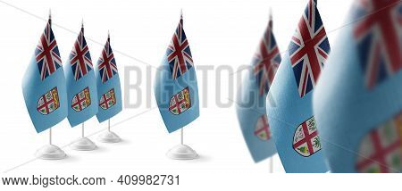 Set Of Fiji National Flags On A White Background