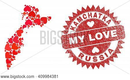 Vector Mosaic Kamchatka Map Of Lovely Heart Items And Grunge My Love Badge. Mosaic Geographic Kamcha