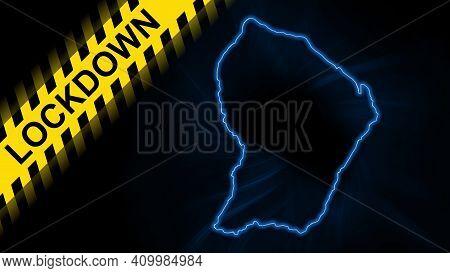 Lockdown French Guiana, Outline Map Coronavirus, Outbreak Quarantine, On Dark Background