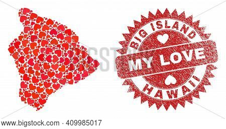 Vector Collage Hawaii Big Island Map Of Lovely Heart Items And Grunge My Love Seal Stamp. Collage Ge