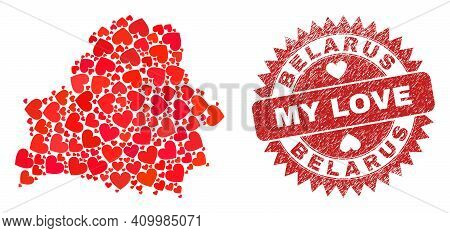 Vector Collage Belarus Map Of Love Heart Items And Grunge My Love Badge. Collage Geographic Belarus