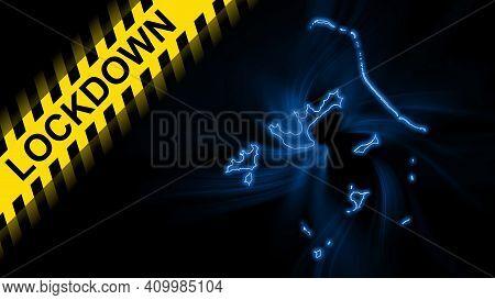 Lockdown French Polynesia, Outline Map Coronavirus, Outbreak Quarantine, On Dark Background