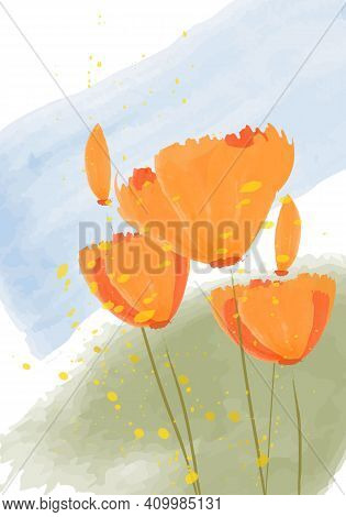 Vector Illustration - Californian Poppies. Abstract Pattern - Golden Poppy, Tulip. Vector Illustrati