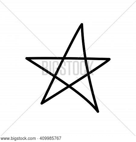 Hand Drawn Star. Astronomical Or Celestial Objects. Heavenly Bodies In Space. Vector Illustration In