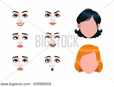 Different Female Emotions Set. Blank Faces And Expressions Of Women. Choose Emotions You Need. Stock